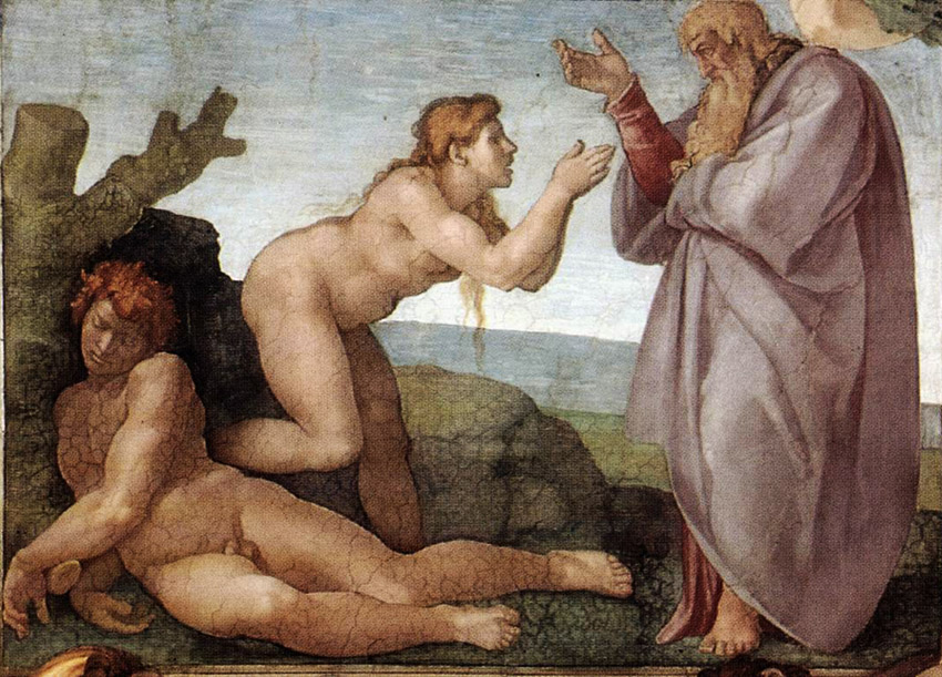 Michelangelo's Creation of Eve. Detail from the Sistine Chapel.