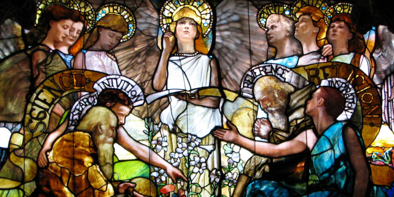 """Detail from stained glass work """"Education""""(Chittenden Memorial Window at Yale). Public domain. (Image links to original.)"""