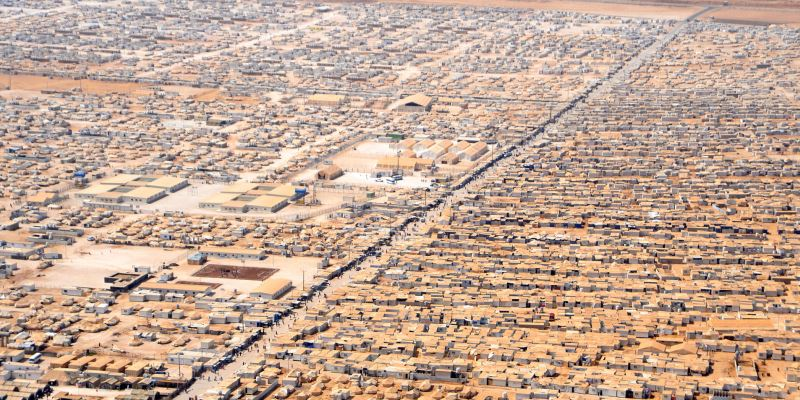 Aerial view of Zaatari camp for Syrian refugees in Jordan (Wikipedia).