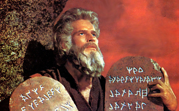 Charlton Heston as Moses.
