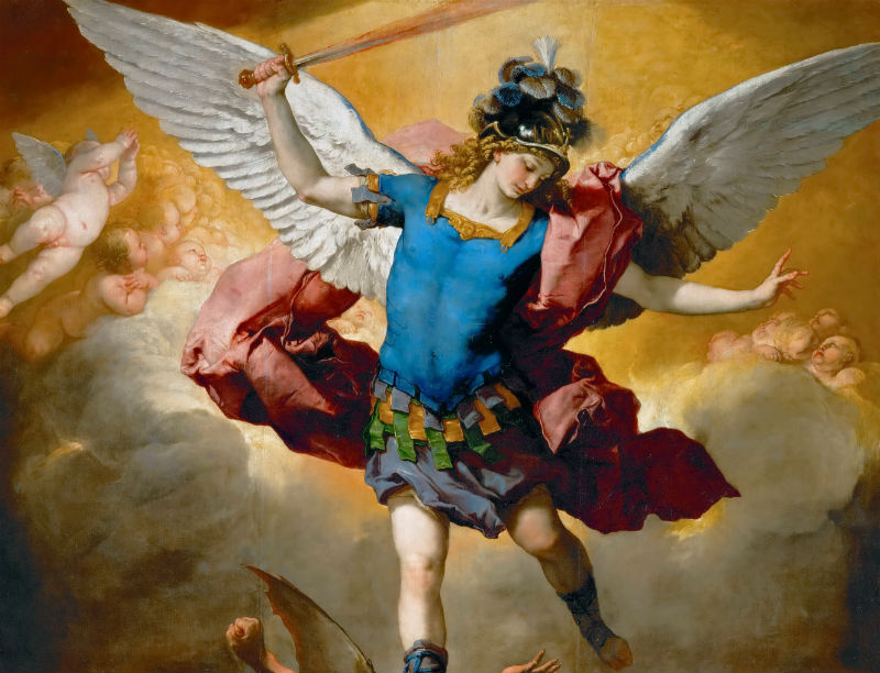 Detail of St Michael defeating Lucifer's army, a common image of spiritual warfare. Painting by Luca Giordano. Wikimedia Commons.